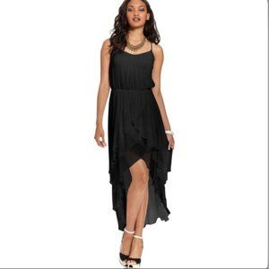 GUESS Black Scoop Neck High Low Ruffle Dress
